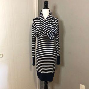 Chic by Jacob navy blue striped dress.